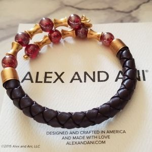 Alex and Ani leather and beaded wrap bracelet